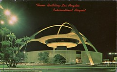 Theme Building, Los Angeles International Airport, California (SwellMap) Tags: postcard vintage retro pc chrome 50s 60s sixties fifties roadside midcentury populuxe atomicage nostalgia americana advertising coldwar suburbia consumer babyboomer kitsch spaceage design style googie architecture neon night evening dark street marquee
