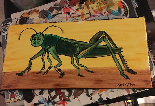 .Locusts Migratony.,  7x14, acrylic on stretched canvas.