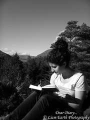 Dear Diary... (liamearth) Tags: bw earth scotland argyll moutains camera portrait woman girl landscape photography beautiful blackandwhite monochrome outdoor texture contrast senorita relaxed sky trees pine clouds book diary spanish virginia
