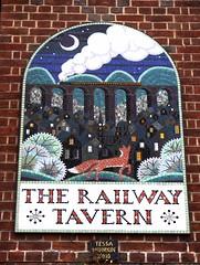 Railway Tavern- Crouch End (Draopsnai) Tags: railwaytavern pub pubsign mosaic mural wall locomotive bridge crouchendhill haringey tessahunkin fox