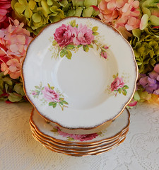 Royal Albert Porcelain Rimmed Soup Bowls ~ American Beauty ~ Roses ~ Gold (Donna's Collectables) Tags: royal albert porcelain rimmed soup bowls ~ american beauty roses gold thanksgiving christmas
