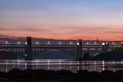 Britannia Dusk (dilys_thompson) Tags: bridge britanniabridge anglesey water dusk lights evening sky menaistraits fujixt1 fuji fujifilmxt1