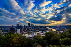 Light Through the Clouds (david_sharo) Tags: pittsburgh landscape sunrise cityscape clouds trees vivid scenic