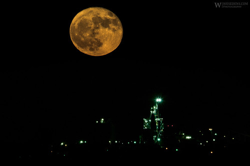 Moon rising over Ada, OK