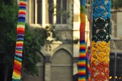 DSC_6629 [ps] - Overthinker (Anyhoo) Tags: anyhoo photobyanyhoo melbourne victoria vic australia urban building yarnbombing knitting rainbow multicolour multicoloured multicolor multicolored trees trunks yarn wool knitted collar sleeve cloth material fabric
