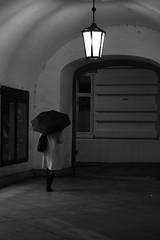 Unknwon Lady (in a rainy Night of Vienna) ;-) (PIXXELGAMES - Robert Krenker) Tags: vienna wien snapshot unknown candid portrait portret schwarzweiss blackandwhite blacknwhite bnw fujifilm fujinon filmsimulation lifestyle street streetstyle urban streetphotographer streetphotography biancoenero umbrella lady leggy legs boots heels dark latern city