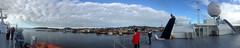 Panorama: Vardø Harbour, from the Deck of the MS Spitsbergen (2) (Phil Masters) Tags: panorama 19thjuly july2016 norwayholiday norway vardo vardø vardøchurch vardochurch globus globusii globusradar globusiiradar globusradome globusiiradome radome radar vardøharbour vardoharbour shipsandboats hurtigruten msspitsbergen