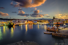 The Old Harbour (Matt Rimkus) Tags: lights griechenland summer mediterranean kreta sunset island crete rethymno port sky greece boats longexposure harbour clouds gr