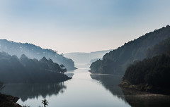 A foggy weather - Tuyen Lam lake - Da Lat - Vietnam (trai_thang1211) Tags: tree lake water forest dalat vietnam outdoor mist weather fog foggy mistday valley hill mountain landscape mountainside watercourse
