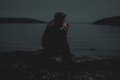 (kaseyivan) Tags: blue ireland shadow sea beach scotland cigarette smoke smoker isles markii