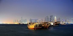 City and Dhows (Sanjiban2011) Tags: longexposure morning blue water boats dawn boat nikon cityscape waterfront ngc corniche bluehour dhows tamron doha qatar dhow tamron1750 d7100