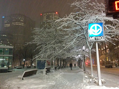 IMG_20141210_180118 (Mohammed Jaffar) Tags: street old trees winter light people snow canada storm tree public station sign night bench subway square lights montral metro quebec walk lumire montreal branches hiver mtro snowstorm victoria sidewalk arbres qubec nightime nei