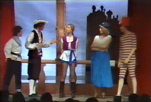 1986 Sinbad the Sailor from video (from left x, Ian Booth, June Francis, Ken Fielding, Roy Ritchie)