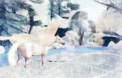 Journey through the land of ice and snow (Darys Laine) Tags: bridge winter snow pegasus magic sl journey secondlife whitehorse snowscene wingedhorse winterseason beautifulsim winterinsl lostunicorngallery