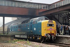 55022 'Royal Scots Grey', York (JH Stokes) Tags: york station photoshop photography transport tracks trains railways napier trainspotting locomotives eastcoastmainline ecml class55 brblue diesellocomotives d9000 deltics 55022 theyorkflyer railtourlivery