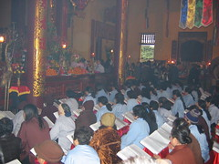 Gathering for Services at Hanoi Temple