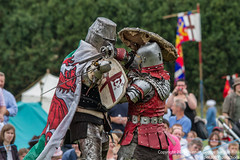 The Welsh Knight & Red Leather Knight (Proper Job Productions) Tags: berkeley fight knights conflict knight swords armour nations skirmish recreationist berkeleyskirmish conflictofnations