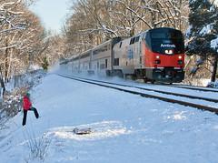 Amtrak.GarrettParkMD030615P029.5230s (jrm_rr) Tags: snow heritage train md maryland amtrak passenger sled sledriding passengertrain phasei garrettpark p42dc p029 capitallimited amtk156 3062015
