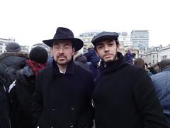 Trafalgar Square, 11 January (Julie70 Joyoflife) Tags: uk portrait men london portraits unity hats trafalgarsquare chapeaux londres bluehour français manif 2014 londoners oameni photojuliekertesz londoncenter kalapok jesuisjuif jesuischarlie jesuispolicier wearefrench
