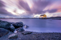 Boathouse sunset (Karl Erik Vasslag Photography) Tags: ocean sunset sea beach water norway clouds landscape photography stavanger norge photo rocks view ngc magenta photograph