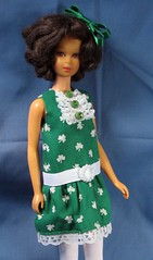 St Patricks Day Dress (Debras Closet) Tags: white green doll clothes shamrocks francie