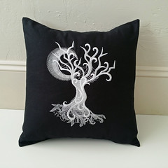 Ghost Baroque Tree Pillow (butterflies2bones) Tags: tree ghost pillow cover baroque embroidered utgallery