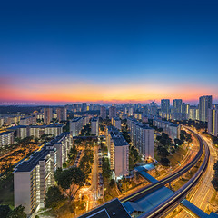 Clementi Curve (rh89) Tags: city morning sky urban panorama color colour public train sunrise square dawn singapore track skies cityscape estate view angle flat pano board sony wide tracks panoramic flats filter heartland lee crop transit nd housing format blocks block fe mrt mass curve grad hdb ultra rapid development graduated density haida clementi neutral 1635 1635mm gnd a7r