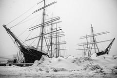 Lower Manhattan in winter storm Thor (LeeHoward) Tags: winter snow newyork storm manhattan southstreetseaport thor lowermanhattan antarctic frankhurley