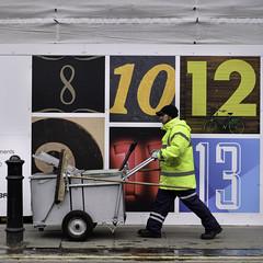 Soho Numbers (stevedexteruk) Tags: road uk man london construction 10 trolley soho 8 hoarding number numbers rubbish worker 12 cleaner 13 broom sweeper 2015