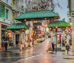 Dragon Gate in Chinatown - San Francisco CA (mbell1975) Tags: sf sanfrancisco california ca city wet rain gate san francisco chinatown dragon unitedstates cityscapes calif rainy portal tor citysights