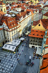Old Town Square in Prague (PabloLopezPhotography.com) Tags: old city bridge blue houses sunset red people tower clock church shop museum architecture buildings square town hall pub gallery republic view rooftops cross czech prague dusk capital gothic crosses belief style charles palace tourist panoramic tourists architectural historic nicholas national believe quarter pubs martyr baroque charlesbridge oldtownsquare constance tyn wenceslas stake astronomicalclock touristic astronomical oldtownhall janhus namesti kinsky starometske