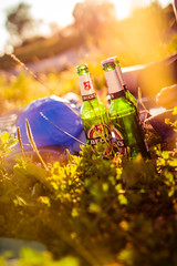 After-Work Hours With Some Friends And Beer (thethomsn) Tags: afterworkhours beer sunset light backlight meadow grass chillout friends germany mood warmness dof sigma30mm thethomsn goodtimes summer vertical becks bottles shade bokeh lifestyle stillphotography outdoors drinks alcohol leisure