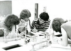 Taking notes and preparing for an experiment (PUC Special Collections) Tags: laboratory lab pacificunioncollege chemistrydepartment chemistrylab chemistry beakers test tubes scientist labcoat experiments angwin california adventist sda seventhdayadventist college
