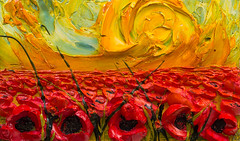 WF30X18-2016-150 (Justin Gaffrey) Tags: poppies poppyfield flowers wildflowers florals art painting artist justingaffrey acrylicpaint nature red gold 30aart 30a sowal florida floridaart