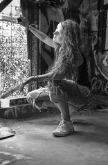 Abandon your defenses (Catching_alchemic light) Tags: graffiti inside window light hair mask conceptual abandon defenses bobbedwire wire converse tennisshoes blackwhiteawards self conceptualportrait