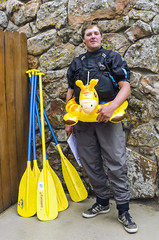 Whitewater Rafting Guide (photographyguy) Tags: colorado idahosprings rafting paddles raftingguide floatring funny wall pfd lifevest