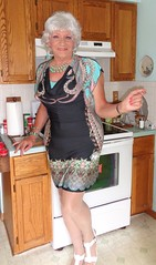 Once Again I Find Myself Overdressed For Any Kitchen Work (Laurette Victoria) Tags: woman kitchen silver pose dress laurette