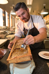 Coulson Armstrong (Packing-Light) Tags: toronto chefdecuisine canoe honeycomb honey cooking food chef kitchen plating