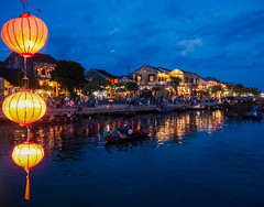 Hoi An at night (Maren 86) Tags: vietnam asia travel water river boats lights lantern reflection blue lumixg7 microfourthirds old town ancient heritage