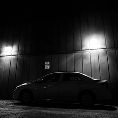 No Parking (srslyguys) Tags: silhouette car lights noparking rooseveltisland