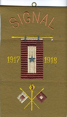 Signal Corps banner (Madison Historical Society) Tags: madisonhistoricalsociety madisonhistory mhs madison connecticut conn ct connecticutscenes country newengland scan bobgundersen museum old historical history worldwari wwi firstworldwar greatwar military leeacademy academy bostonpostroad route1 interesting image inside indoor interior shoreline document