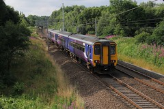 Northern Rail Metro Cam No. 156424 with 1U57 Blackpool North to Manchester Victoria passes Bridge 60A at Standish on the West Coast Main Line on a sunny Summer Saturday 23rd July 2016.  (steamdriver12) Tags: northern rail metro cam no 156424 with 1u57 blackpool north manchester victoria bridge 60a standish west coast main line sunny summer saturday 23rd july 2016