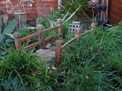 Forgotten Garden Bridge (mikecogh) Tags: bridge miniature weeds overrun everardpark forgotten