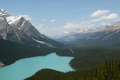 Peyto Lake (Stefan Jrgensen) Tags: bowsummit icefieldsparkway banffnationalpark alberta canada peytolake rockymountains canadianrockies sky water lake mountains trees clouds sony dslr dslra700 a700