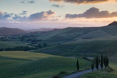 The Last of the Light (Lance Sagar) Tags: tuscany italy sunset sky landscape clouds trees road valleys hills toscana canon 6d farm agri agriturism