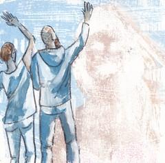 # 222 (09-08-2016) (h e r m a n) Tags: afscheid goodbye farewell manandwoman manenvrouw zwaaien wave herman illustratie tekening bock oosterhout zwembad 10x10cm 3651tekenevent tegeltje drawing illustration karton carton cardboard