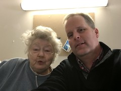 Andrew visits with a nursing home resident to spread Good Vibes at Valentine's Day.