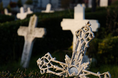 Peace, finally! (Fotogezwitscher) Tags: graveyard grave death cemetery cross white dusk creepy old histortical garden spain orio