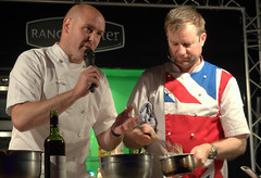 Chefs Aiden Byrne & Andrew Nutter at Bolton Food Festival 2016 (Tony Worrall) Tags: foodie event show festival town fun visit foodfestival food eat taste annual bolton gmr stage demo chefs people candid cooks uk england northwest north boltonfoodfestival andrewnutter aidenbyrne