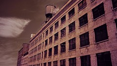 Infrabrick (Mike.Geiger.ca (Myke)) Tags: brick building clouds downtown highline infrared ir newyorkcity nynymcat perspective sky watertower x100 newyork usa